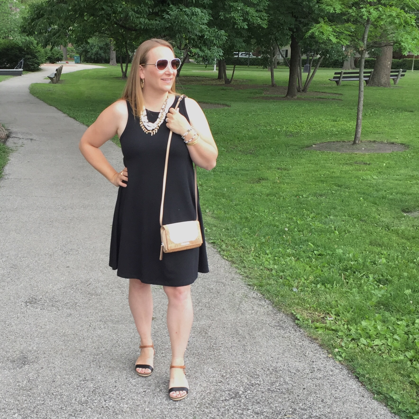 old navy swing dress dressed up stella dot necklace crossbody aviator sunglasses target sandals accessories