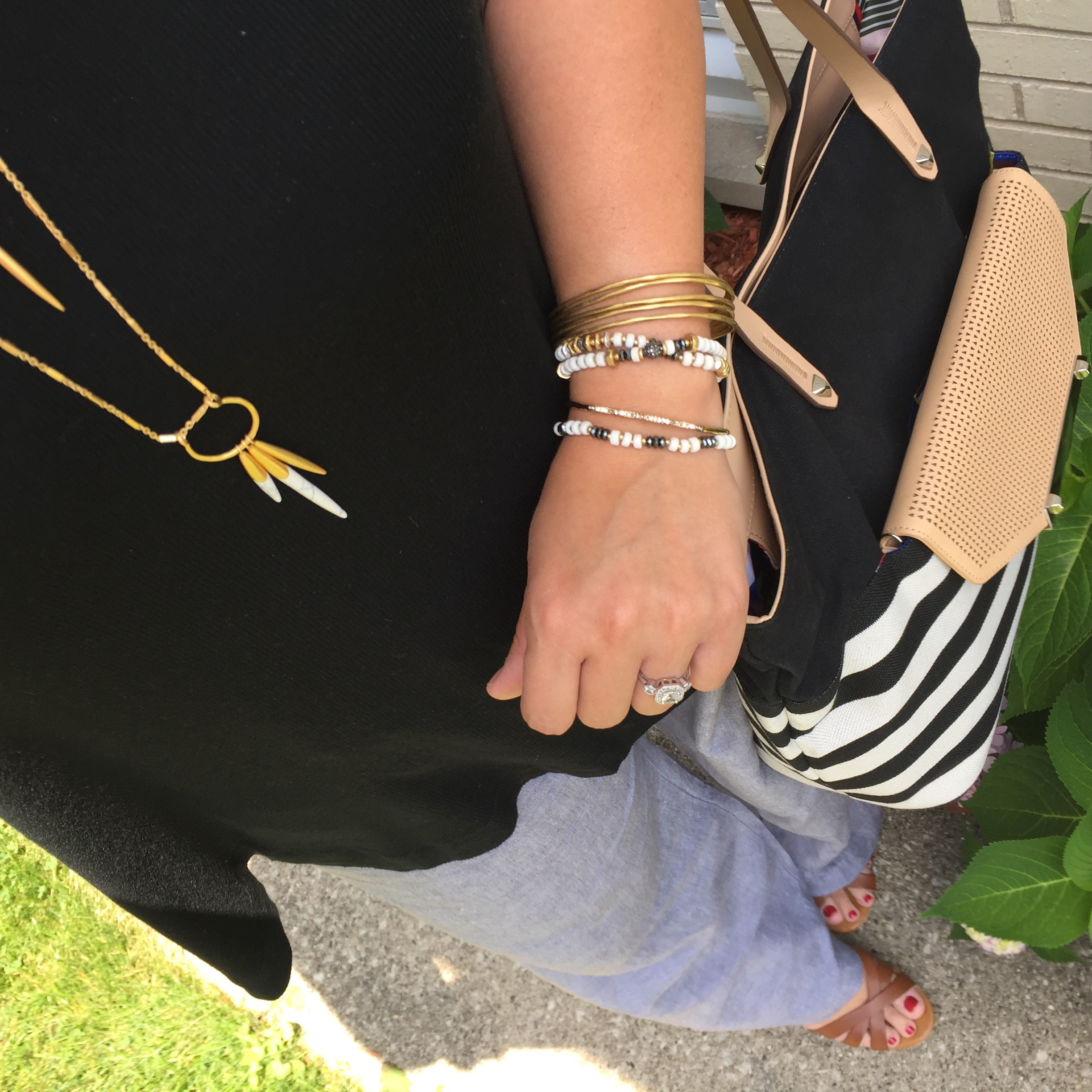 target swing tank and wide leg pants, st. john's bay wedge sandals, stella and dot jewelry and tote, fashion blogger, style blogger, targetstyle, jcpenney, preppy, boho, quill, armparty
