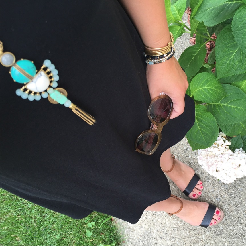 old navy tank swing dress, stella and dot totem tassel necklace, armparty and sunnies, target wedge sandals, targetstyle,  fashion blogger, style blogger, fashionista, closet remix, restyle